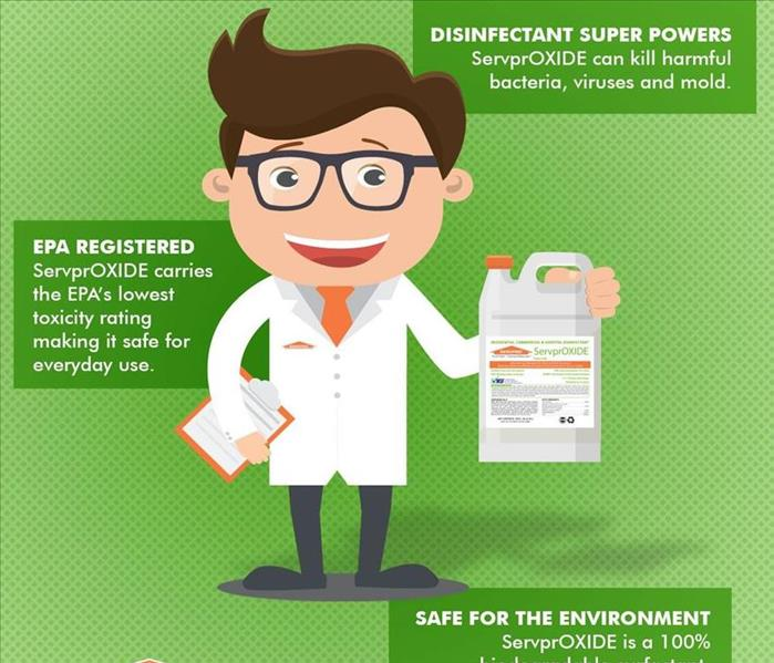 Cartoon SERVPRO chemist holding a jug of ServprOXIDE. The text bubbles around him stating facts about the product.